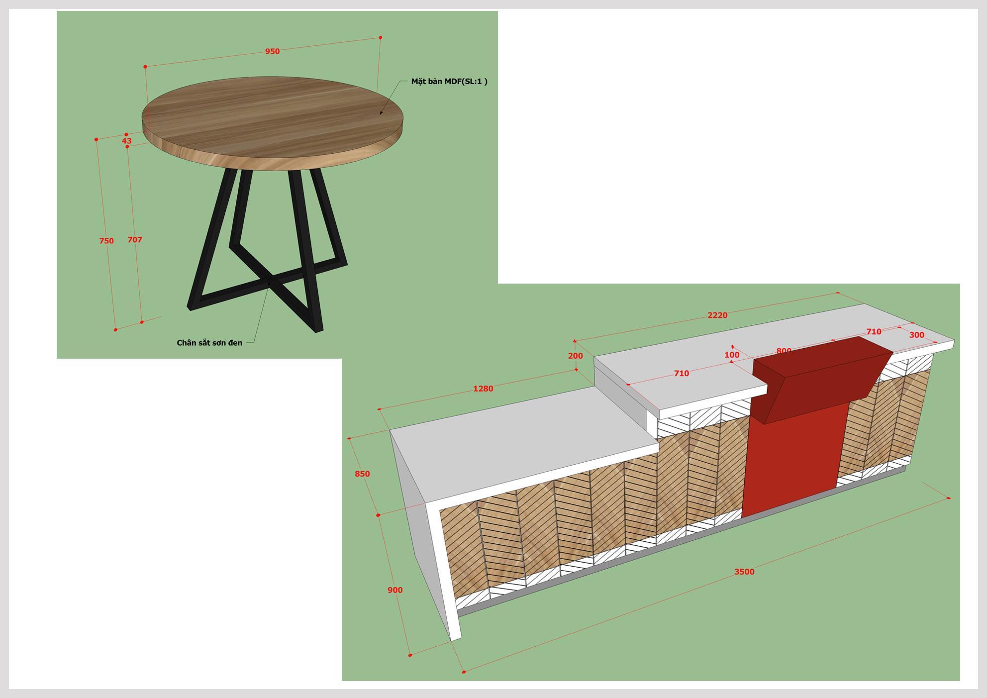 HF Decor Quảng Ngãi cung cấp bản vẽ chi tiết đến từng milimet