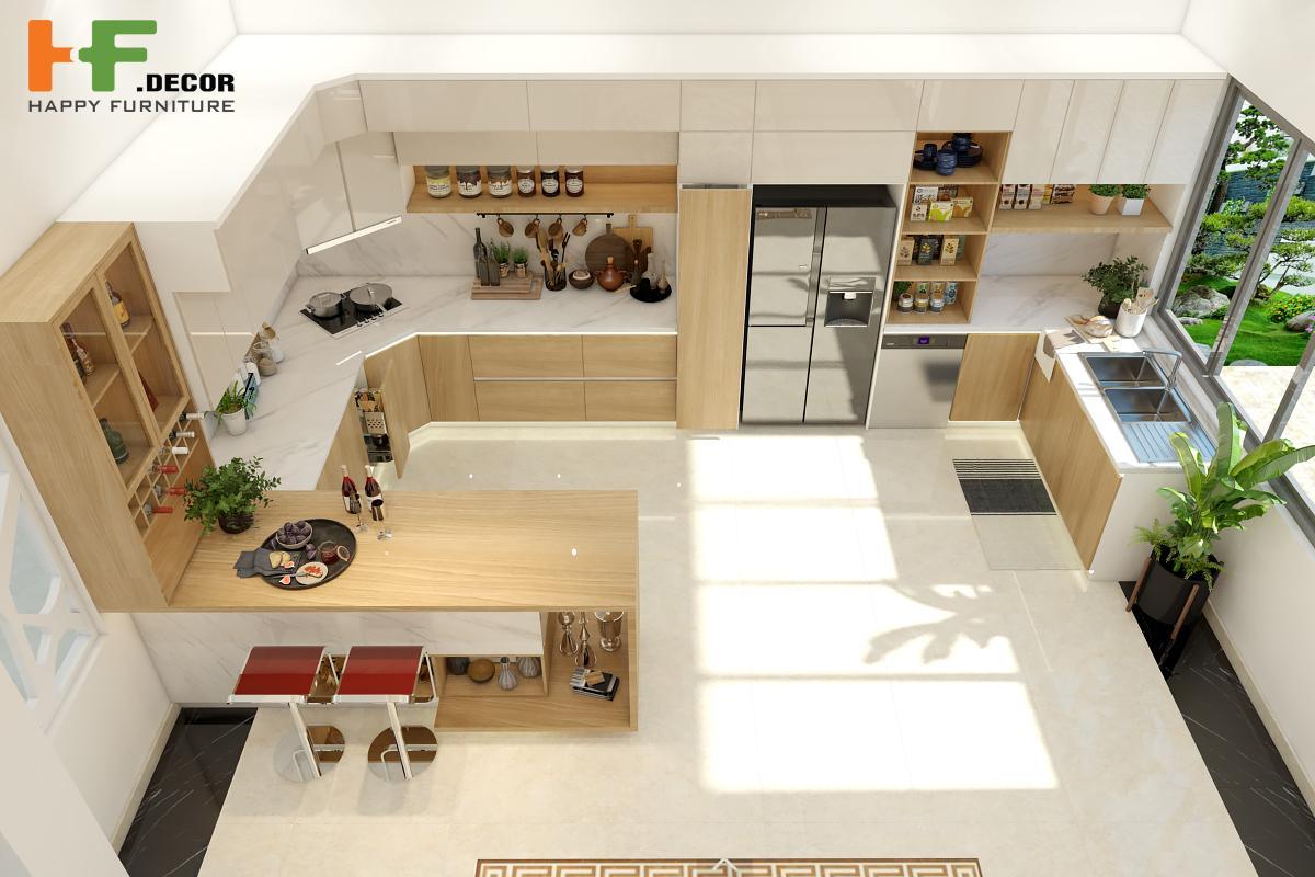 Sử dụng bàn bếp phân chia không gian vừa sang trọng lại tiết kiệm diện tích